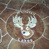 Restaurant logo in concrete floor