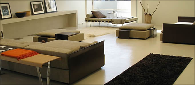 Modern residential light brown concrete floor