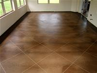 Residential living room concrete floor