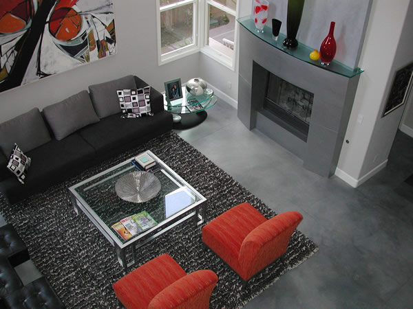 Modern Style Family Room Concrete Floor Masterpiece Dark Grey Living