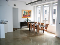 Modern dining room concrete floor