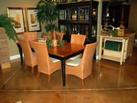 Light brown concrete floor for dining room