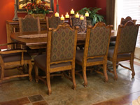 Aged brown dining room concrete floor