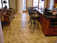 Aged residential kitchen concrete floor