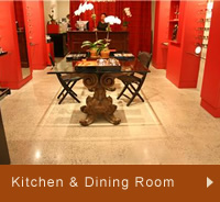 Photos of kitchen and dining room concrete floors