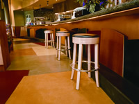 Multi colored restaurant concrete floor