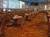 Aged restaurant concrete floors