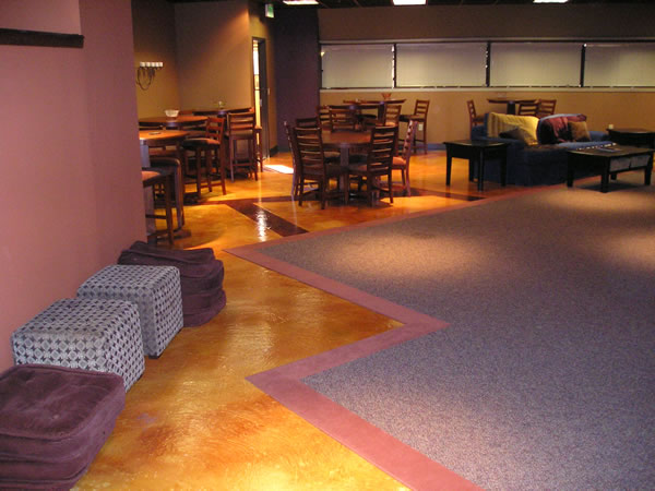 Acid Stained Restaurant Concrete Floors Light Brown Floor For Restuarant