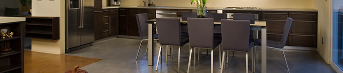 Grey dining room concrete floor